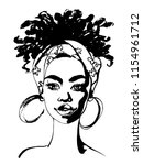 sketching beauty african young... | Shutterstock .eps vector #1154961712