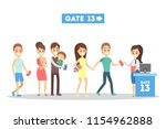 people standing with tickets...   Shutterstock .eps vector #1154962888