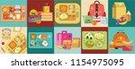 school lunch set different food ... | Shutterstock .eps vector #1154975095