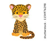 cute cheetah  leopard or jaguar ... | Shutterstock .eps vector #1154976298