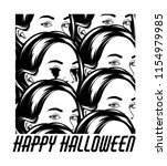 happy halloween. vector hand... | Shutterstock .eps vector #1154979985