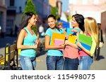 four beautiful college girls... | Shutterstock . vector #115498075