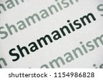 word shamanism printed on white ...   Shutterstock . vector #1154986828