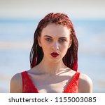 portrait of beautiful redhead... | Shutterstock . vector #1155003085
