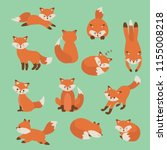 hand drawing cute fox with a... | Shutterstock .eps vector #1155008218