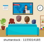 family with cat watching tv...   Shutterstock .eps vector #1155014185