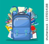 school backpack with books ... | Shutterstock .eps vector #1155014188