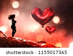 thinking about love 3d... | Shutterstock . vector #1155017365