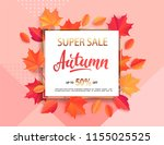 autumn super sale banner in... | Shutterstock .eps vector #1155025525