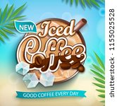 label of iced coffee with iced... | Shutterstock .eps vector #1155025528