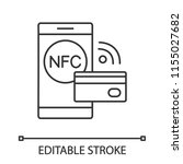 nfc technology linear icon....   Shutterstock .eps vector #1155027682