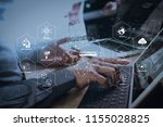 futuristic in industry 4.0 and... | Shutterstock . vector #1155028825