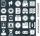 set of 25 icons such as alarm ...