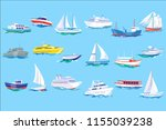 sea ship  boat and yacht set ... | Shutterstock .eps vector #1155039238
