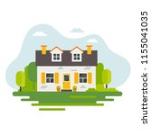 cute house in flat style ... | Shutterstock .eps vector #1155041035