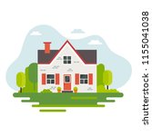 cute house in flat style ... | Shutterstock .eps vector #1155041038