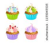 cupcake brownies cream and... | Shutterstock .eps vector #1155045535