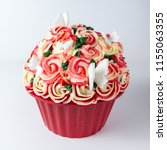 flower decorated butter icing... | Shutterstock . vector #1155063355