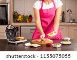female hands holding a sandwich ... | Shutterstock . vector #1155075055