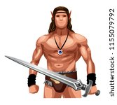 male elf with a sword   Shutterstock .eps vector #1155079792
