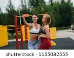 beautiful girls sportswomen...   Shutterstock . vector #1155082555