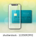 smartphone   credit card banner.... | Shutterstock .eps vector #1155092992