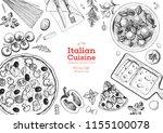 italian cuisine top view frame. ... | Shutterstock .eps vector #1155100078