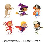 set of multiracial boys and... | Shutterstock .eps vector #1155102955