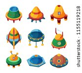 ufo and spaceships. isometric... | Shutterstock .eps vector #1155119218