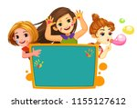 three  happy girls with blank... | Shutterstock .eps vector #1155127612