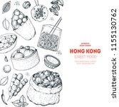 hong kong street food. chinese... | Shutterstock .eps vector #1155130762