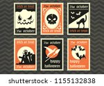 happy halloween greeting card ... | Shutterstock .eps vector #1155132838