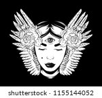 vector hand drawn surreal... | Shutterstock .eps vector #1155144052