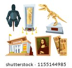 set cartoon pictures of museum... | Shutterstock .eps vector #1155144985