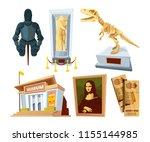set cartoon pictures of museum... | Shutterstock .eps vector #1155144985