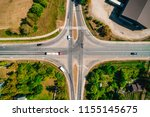 top view of crossroad with cars ... | Shutterstock . vector #1155145675