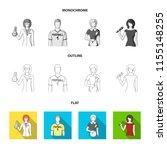 woman chemist  football player  ... | Shutterstock . vector #1155148255