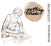 professional potter girl...   Shutterstock .eps vector #1155148768
