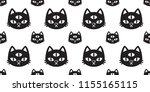 cat seamless pattern vector... | Shutterstock .eps vector #1155165115