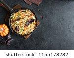 autumn pasta with pumpkin and... | Shutterstock . vector #1155178282