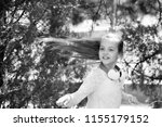 child dancer with long flying...   Shutterstock . vector #1155179152