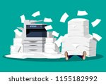 businessman in pile of papers.... | Shutterstock .eps vector #1155182992