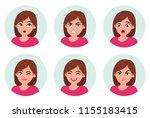 set of girl woman facial... | Shutterstock .eps vector #1155183415