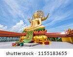 large gold buddha statue in a... | Shutterstock . vector #1155183655