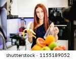 young woman blogging and... | Shutterstock . vector #1155189052