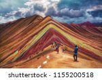 Tourists visit Vinicunca, Mountain seven colors, January 2018, Cusco Peru. - stock photo