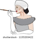 woman smoking cigarette...