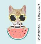 cartoon cat in sun glasses with ... | Shutterstock .eps vector #1155226675