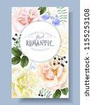 vector vintage floral banner... | Shutterstock .eps vector #1155253108