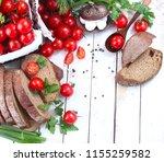 resh cherry tomatoes and herbs... | Shutterstock . vector #1155259582
